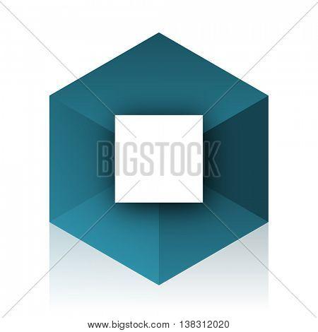 stop blue cube icon, modern design web element