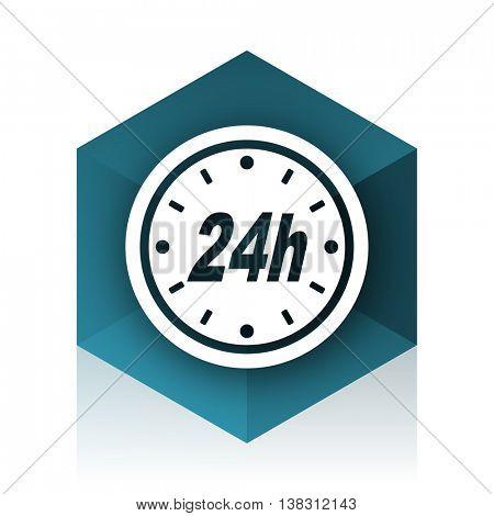 24h blue cube icon, modern design web element