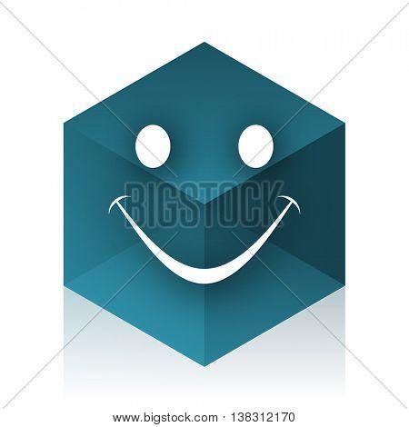 smile blue cube icon, modern design web element