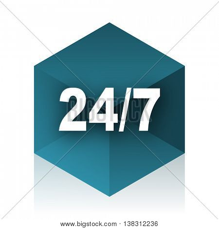 24/7 blue cube icon, modern design web element