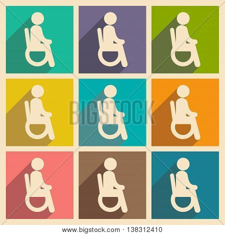 Modern flat icons collection with long shadow People wheelchair