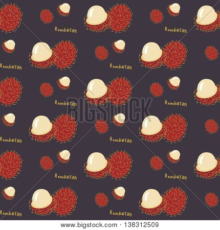 Seamless pattern of exotic tropical fruit rambutan on a violet background flat style. For printing on fabric or paper. Vector illustration.