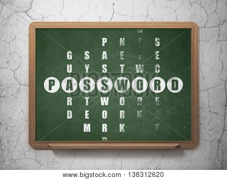 Safety concept: Painted White word Password in solving Crossword Puzzle on School board background, 3D Rendering