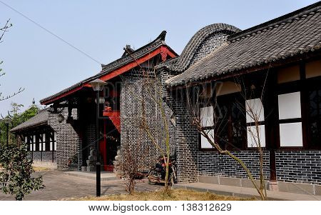 Sheng Pin China - March 7 2013: Traditional Chinese style gray brick buildings at the General Yin Chang Heng Historic House Museum