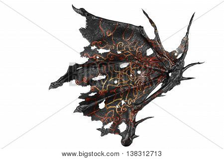 Dragon wing isolated on white background. Close up.