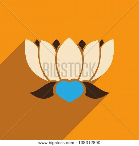 Modern flat icon with long shadow Indian lotus