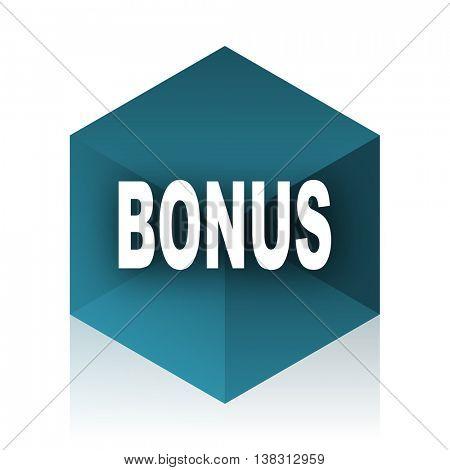 bonus blue cube icon, modern design web element
