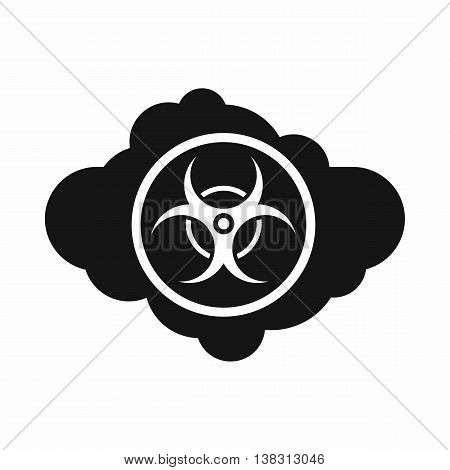 Cloud with biohazard symbol icon in simple style isolated vector illustration