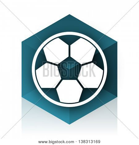 soccer blue cube icon, modern design web element