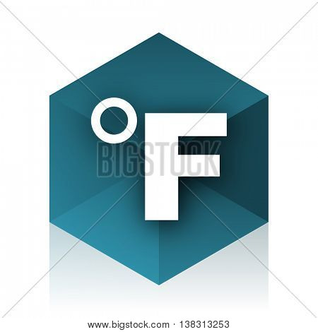 fahrenheit blue cube icon, modern design web element