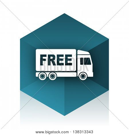 free delivery blue cube icon, modern design web element