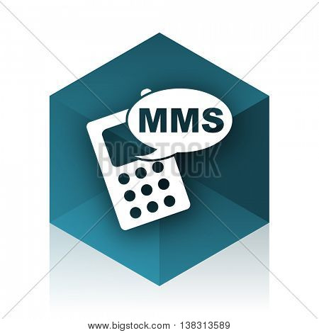 mms blue cube icon, modern design web element