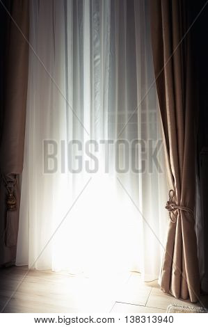 Curtains And Closed Blinds With Bright Back Light