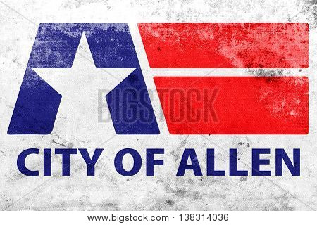 Flag Of Allen, Texas, Usa, With A Vintage And Old Look