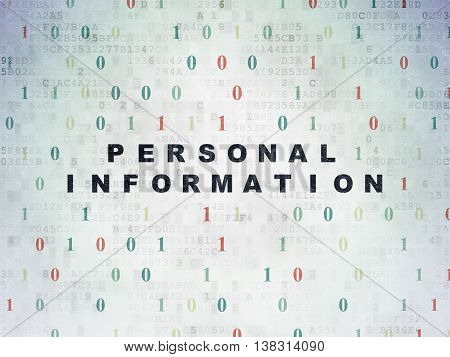 Safety concept: Painted black text Personal Information on Digital Data Paper background with Binary Code