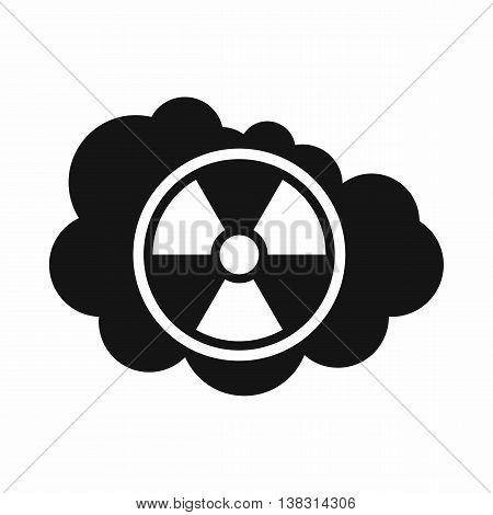 Cloud and radioactive sign icon in simple style isolated vector illustration