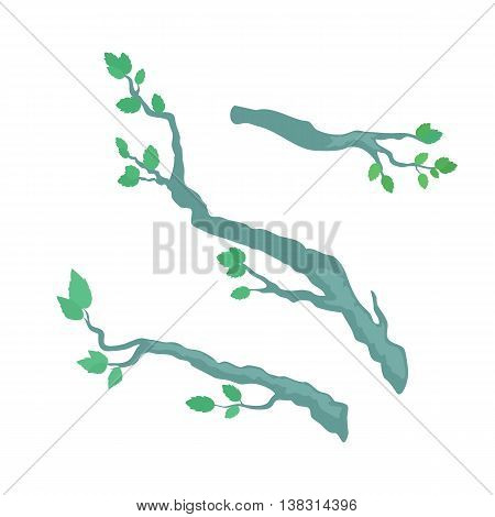 Tree brunches vector. Floral template in flat design. Illustration for nature concepts, trees compositions, pet shop advertising. Tree brunches with leaves in different positions isolated on white.