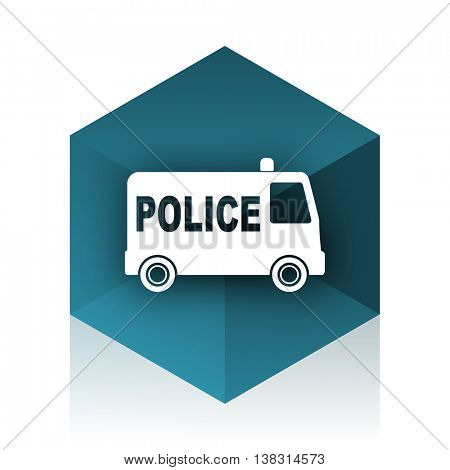 police blue cube icon, modern design web element