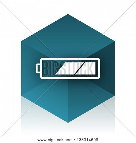 battery blue cube icon, modern design web element