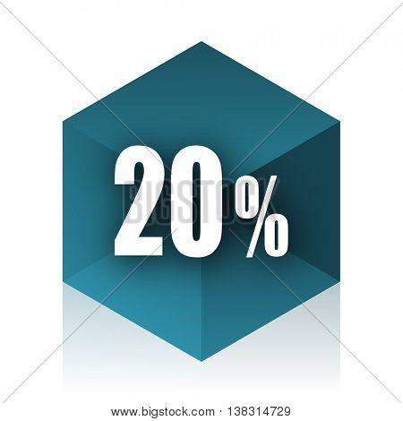 20 percent blue cube icon, modern design web element