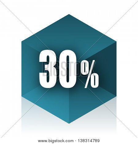 30 percent blue cube icon, modern design web element