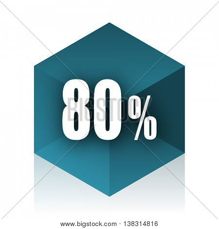 80 percent blue cube icon, modern design web element
