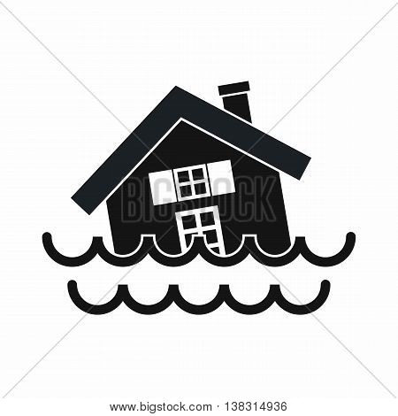 House sinking in a water icon in simple style isolated vector illustration