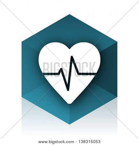 pulse blue cube icon, modern design web element