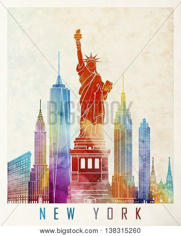 New York landmarks in artistic watercolor poster