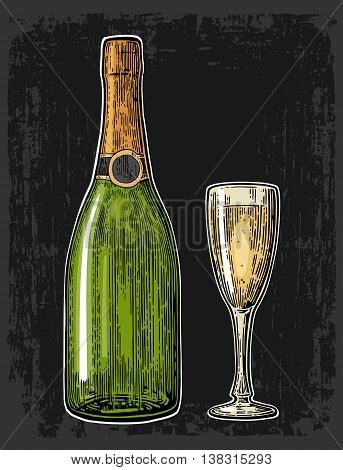 Champagne glass and bottle. Vintage color vector engraving illustration for web poster invitation to party. Hand drawn design element isolated on dark background.