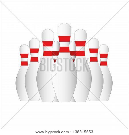 bowling, pin, vector, strike, leisure, activity, copy, white, red,