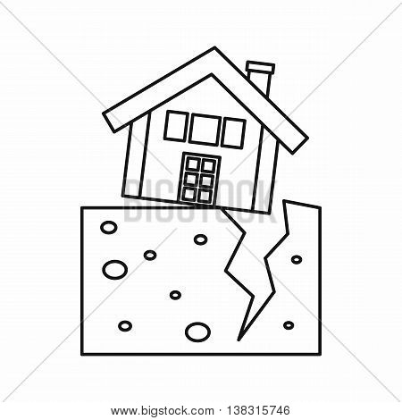House after an earthquake icon in outline style isolated vector illustration