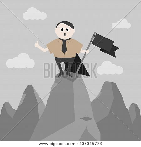 Imperious and historical leader stands on top of a mountain with a black flag