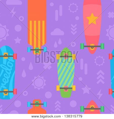 Flat Longboards Seamless Pattern