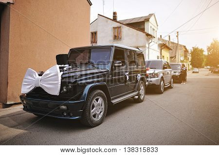 Stylish Wedding Cortege Of Cars With A Bow And Hat