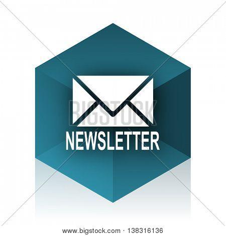 newsletter blue cube icon, modern design web element