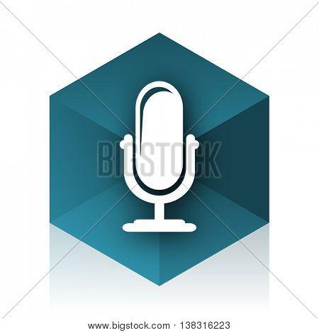 microphone blue cube icon, modern design web element