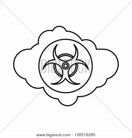 Cloud with biohazard symbol icon in outline style isolated vector illustration