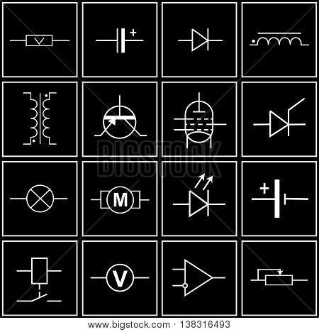 symbols of electronic components on circuit diagrams