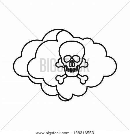 Cloud with skull and bones icon in outline style isolated vector illustration