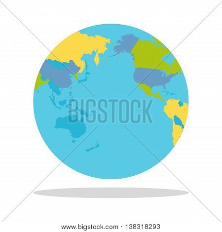 Planet Earth vector illustration. World Globe with political map. Countries silhouettes on the planet surface. Global world concept. East, West. Indochina, North America, Australia, Pacific ocean.