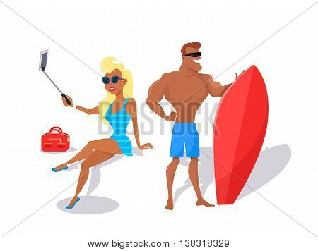 Summer fun concept illustration. Beach entertainments. Selfies and surfing vector in flat style design. Pretty blonde woman in swimsuit making selfie, muscular smiling man standing with surfboard.