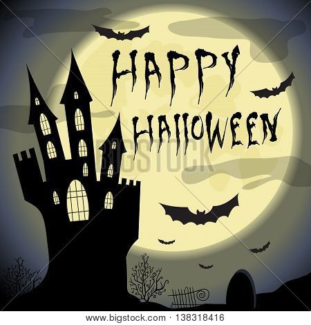 Happy halloween card.  Halloween vector template with haunted castle, full moon, trees and bats. Halloween vector card dark backdrop. Vector design elements.