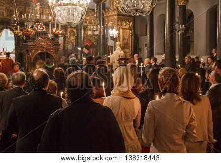ISTANBUL, TURKEY - APRIL 23, 2011: Orthodox Easter ceremony in Aya Dimitri Church in Istanbul, Turkey. Greek Orthodox minority in Istanbul at Kurtulus neighborhood