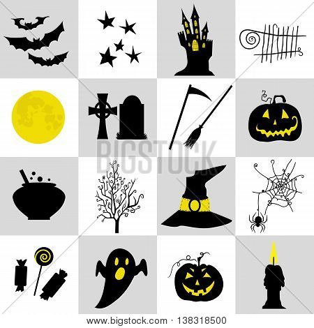 Halloween black  and yellow icons set. Halloween element pumpkinghost and bat and other