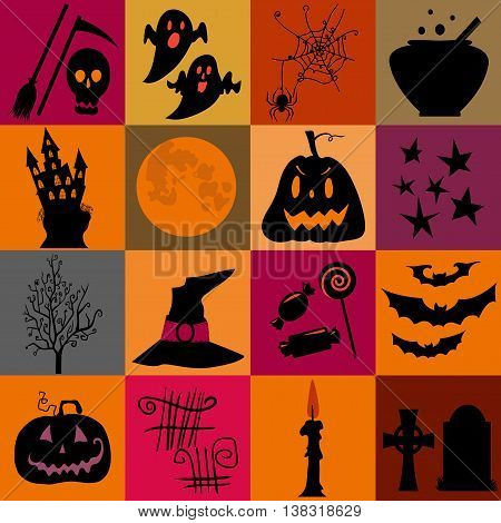 Halloween black  and orange icons set. Bright squares. Halloween element pumpkinghost and bat and other