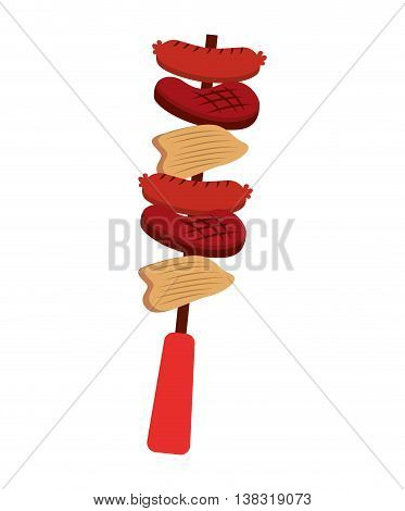 skewer  meat sausage and potatoes isolated icon design, vector illustration  graphic