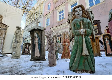 VILNIUS, LITHUANIA - MARCH 2: Traditional Lithuanian wood sculpture in annual traditional crafts fair - Kaziuko fair on Mar 2, 2013 in Vilnius, Lithuania