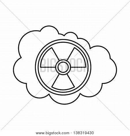 Cloud and radioactive sign icon in outline style isolated vector illustration
