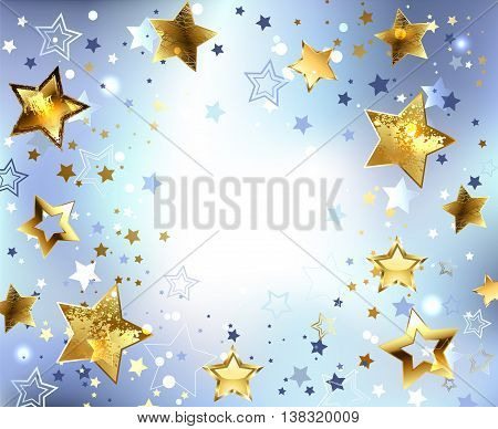Blue abstract light background with gold stars. Design with stars. Golden Star.